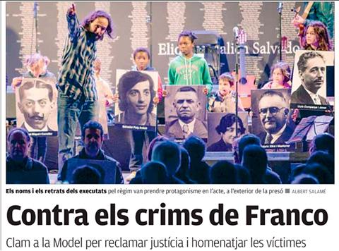 Portada diari Punt Avui en l'acte de record als executats pel franquisme. Ramon Blasi és la imatge que agafa la noia.