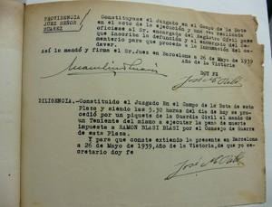 Certificació judicial de l'execució de Ramon Blasi