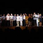 Homenatge als 40 anys d'ajuntaments democràtics durant un pregó de Festa Major de Taradell 2019 que proclama Aina Alcubierre com a pubilla