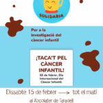 El dissabte al matí tindrà lloc la xocolatada solidària per recaptar fons per combatre el càncer infantil