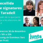 Recollida de signatures a Taradell perquè Junts per Catalunya es pugui presentar a les eleccions del 14 de febrer