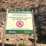 Senyalitzada la bauma i el Castell de Taradell com a zona prohibida per a l'escalada en roca