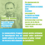 S'obre la convocatòria per la 2a edició del premi Anastasi Aranda al millor treball de recerca de Batxillerat